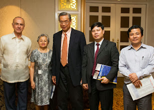 Photo: 22 August 2013 - General Monthly Meeting of FINEX.  (L-R) Luis Ortiz-Hidalgo, Conchita Manabat, FINEX Board Member, Jaime Y. Ladao, Bach Nguyen and Thanh Nguyen
