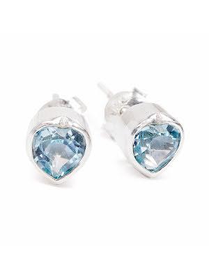 Blå topas, örhängen med hjärtan på stift
