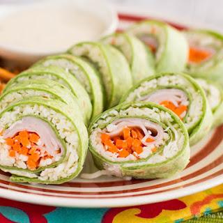 Turkey and Cheese Sushi Sandwich Rolls.