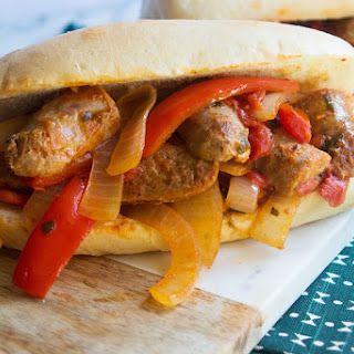 Sausage, Peppers and Onions Sandwich.
