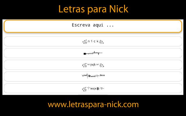 Letras para Nick