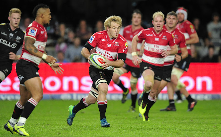 Marnus Schoeman of the Emirates Lions attacks during 2018 Super Rugby game between the Sharks and the Lions at Kings Park, Durban on June 30 2018.