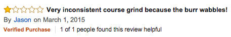 Negative Amazon review for manual burr grinder