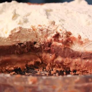 Caramel, Chocolate, and Pretzel Pie.