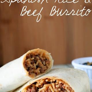 Spanish Rice and Beef Burritos.