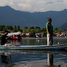 DAL LAKE , J&K, India by Jaydip Bera - Landscapes Mountains & Hills ( ride, mountain, transport, lake, beauty, scenic, boat )