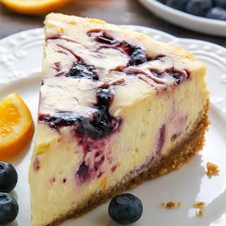 Lemon Blueberry Swirl Cheesecake.