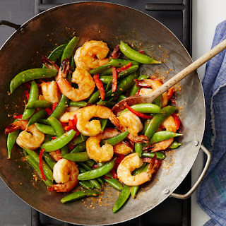 Stir-Fried Spicy Ginger Shrimp with Sugar Snaps Recipe