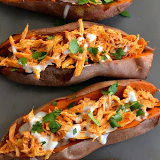 Skinny Buffalo Chicken Stuffed Sweet Potatoes