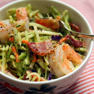 Shrimp, Bacon And Broccoli Slaw With Ranch Dressing.