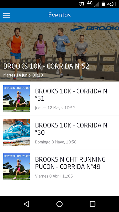 Brooks Chile: captura de pantalla