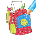 Glitter School Supplies Coloring For kids icon
