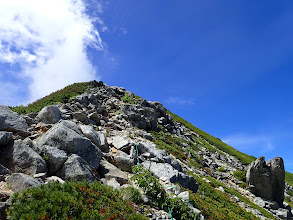 岩場の登りに