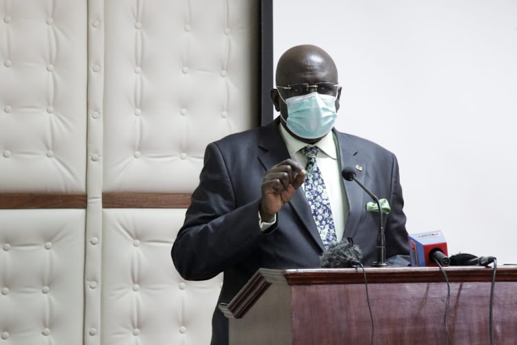 Education Cabinet Secretary Prof George Magoha speaks during a meeting with TTC Principals on measures to take and management of Institutions to control Covid-19 at Kenya School of Government Embu County on July 5, 2020.