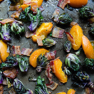 Roasted Kale Sprouts, Apricots & Bacon