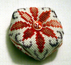 Photo: Completed 29-Dec-2006. This, like Biscornu 1, was from a pattern book I picked up in France. I decided to play with variegated floss.