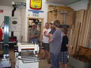 Photo: Left to right -  ? Fuchs, Clint Warren, Steve Bigelow, Rick & his son in 2Dave's shop.