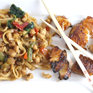Pan Fried Chinese Cod with Drunken Noodles.