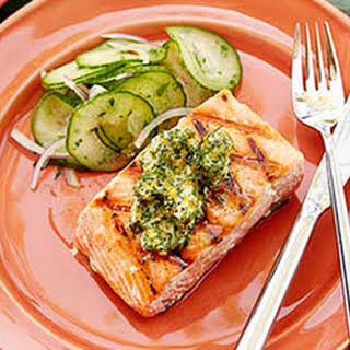 Grilled Salmon with Herb and Meyer Lemon Compound Butter.