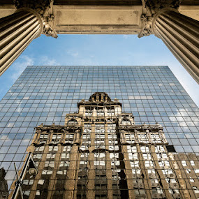 Niels Esperson Building Reflection by Dee Zunker - Buildings & Architecture Architectural Detail ( pwcarcreflections, reflection, texas, houston, niels esperson building, columns, usa, downtown )