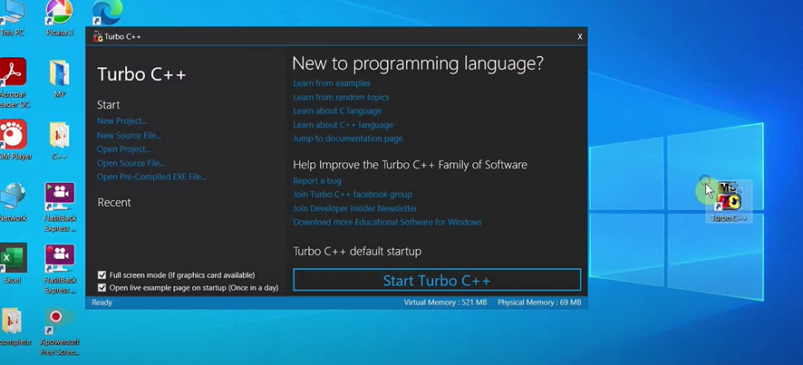 You will see that a desktop shortcut has been created. This will allow you to launch Turbo C++ from the desktop itself.