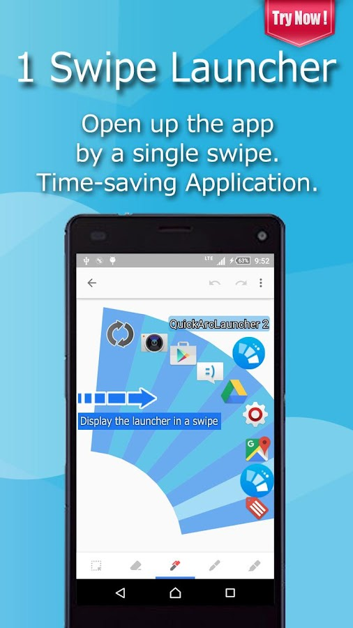 Smart One Swipe Launcher - Quick Arc Launcher 2- screenshot