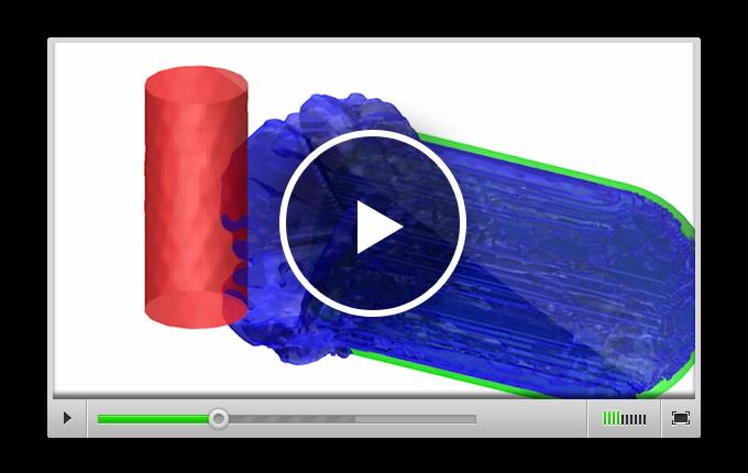 Компьютерное моделирование показывает: как и в реальном эксперименте, огонь может быть погашен ударной волной, исходящей из стальной камеры
