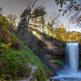 Kissed Through the Mist by Dave Knapp - Landscapes Forests ( waterfalls, minneapolis, parks, filtered sunlight, minnehaha falls )