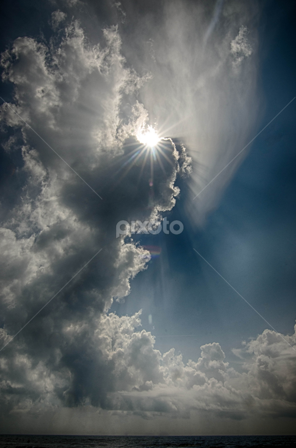 Angel of Light by Kevin McKinnerney - Landscapes Cloud Formations ( angel, clouds, water, sun )