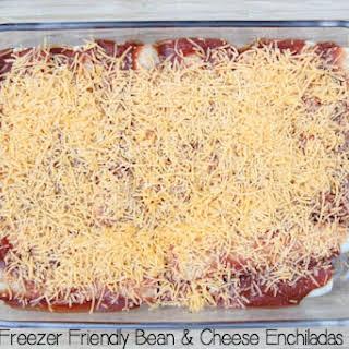 Freezer Friendly Bean & Cheese Enchiladas.