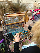 Photo: deb at the beach for my class and  is weaving a scarf on a saori piccolo loom