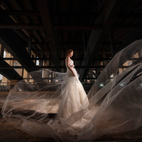 Moving with your Veil by Ken Raven - Wedding Bride ( wedding photography, wedding gown, wedding day, weddings, wedding, wedding dress, malaysia, wedding photographer, bride and groom, veil, bride, groom )