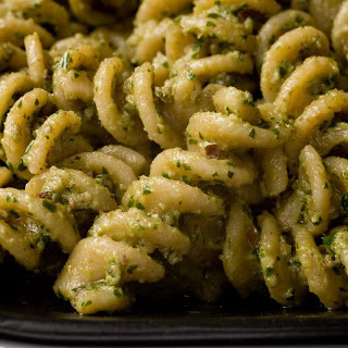Fusilli with Parsley, Walnut, and Black Olive Pesto
