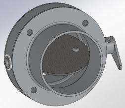 """Photo: Cabin Heat Butterfly Valve.  2"""" SCAT tubing on both sides of firewall.  Stainless butterfly, aluminum flanges."""
