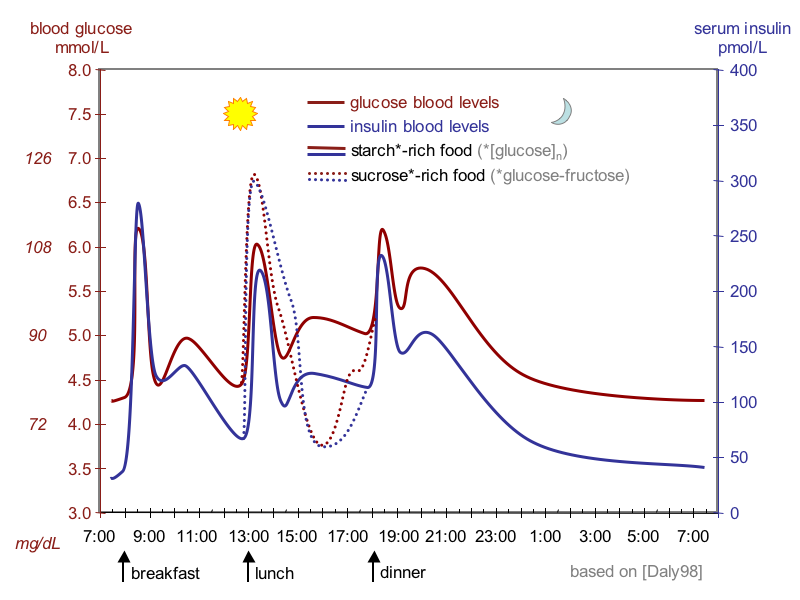 The figure shows a line graph, with time over 24 hours on the x-axis and with blood glucose concentrations on the left y-axis and blood insulin concentrations on the right y-axis. The graph shows 3 peaks during the day for meals, with insulin level closely matched to glucose level. The effects of a sugar-rich meal shows a higher glucose and insulin peak and a more precipitous decline in glucose in response.