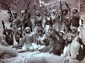 Photo: Sayyaf group mujahideen showing off their weapons in Jaji, Paktia, Afghanistan, August 1984.