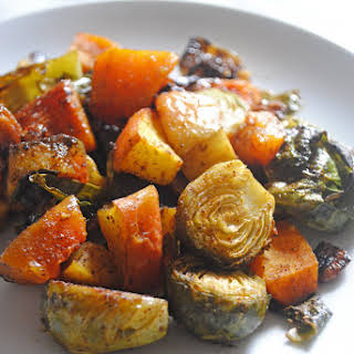 Maple Curry Roasted Brussels Sprouts, Butternut Squash and Apples.