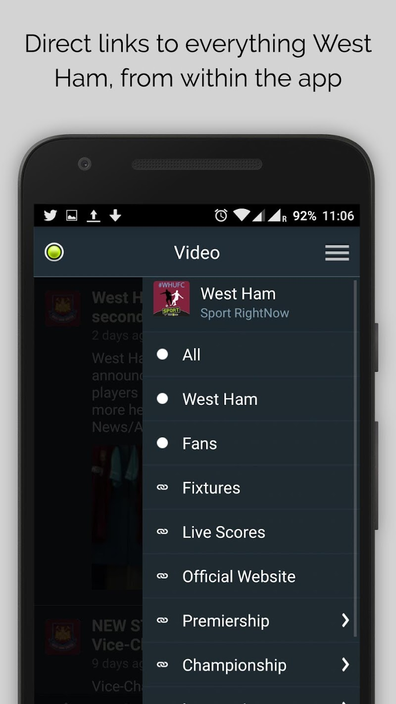 Скриншот West Ham News