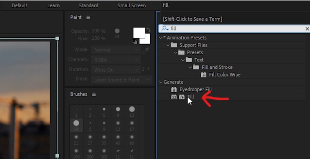 Add some color by selecting 'Crown' layer. In 'Effects & Controls', double-click on Fill effect to add color.