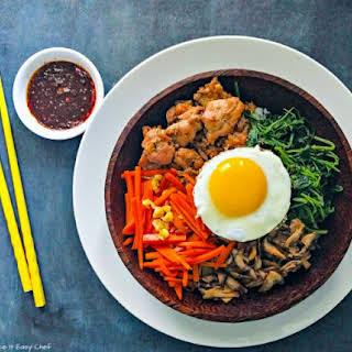 Korean Bibimbap with Chicken Bulgogi.