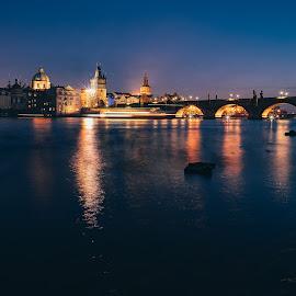 From Prague. by Robert Hájek - City,  Street & Park  Night ( sony, czech republic, city, sony alpha, night, cityscape, prague, river, bridge, evening, landscape, czech )