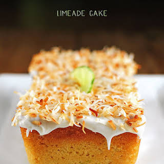 Limeade Cake with Vanilla Frosting and Toasted Coconut.