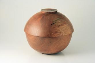 "Photo: Don Van Ryk 6-1/4"" x 5-1/2"" Beads of Courage lidded bowl [cherry]"