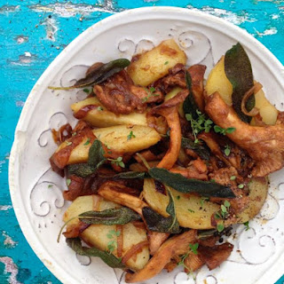 Crispy Sage Potatoes with Chanterelle Mushrooms