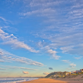 Moon & Clouds by Anne-Marie  Fuller  - Landscapes Beaches ( sky, seascape, moon, nature, clouds,  )