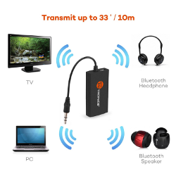 Bluetooth Transmitter, TaoTronics Portable Wireless Stereo Music Transmitter for 3.5mm Audio Devices