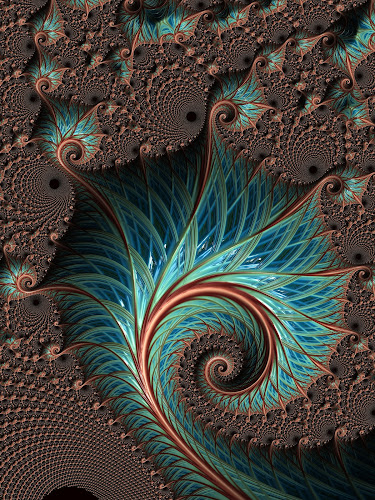 Iterative feather fractal by Pam Blackstone - Illustration Abstract & Patterns ( circles, loops, delicate, curls, lines, swirls, spiral, buds, fractal, feather )