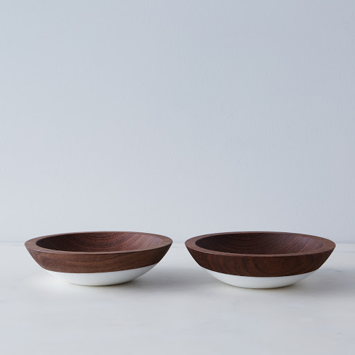 "6"" Hand Dipped Walnut Snack Bowls (Set of 2)"