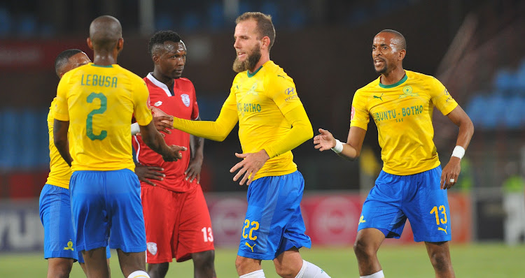 Mamelodi Sundowns striker Jeremy Brockie celebrates with teammates after scoring his first goal for the club during the 3-1 Absa Premiership win over Free State Stars at Loftus Versfeld on November 7, 2018.