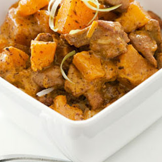 Thai Pumpkin And Chicken Curry With Rice.